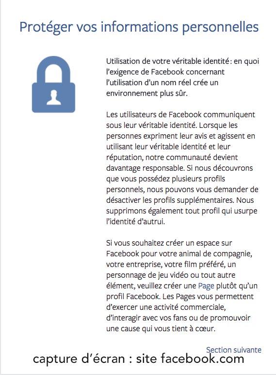 Capture d'écran des conditions d'utilisation de Facebook, sous réserve de modifications ultérieures